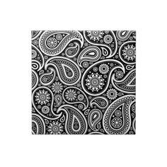 Black & White Vintage Paisley Damask  Pattern Ceramic Tile