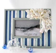 Playa decoración Seashell marco  Barnwood por beachgrasscottage, $48.00