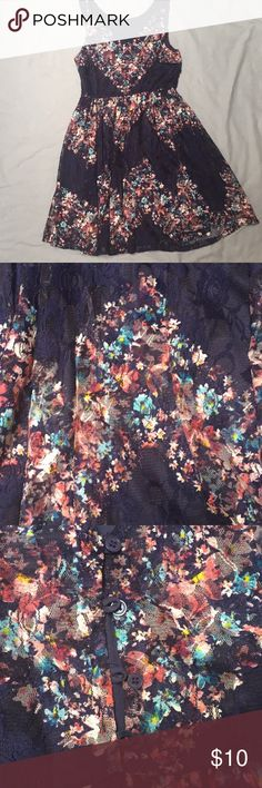 Spring / summer dress Beautiful navy blue dress with pink and blue flowers. Dresses