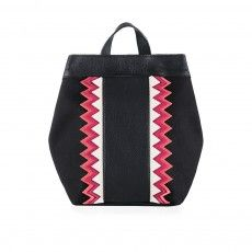 ALYCE ZIGZAG Black with Zigzag Stripes Calfskin Backpack
