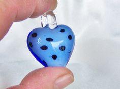 Murano Heart-shaped Pendant, Sterling Silverplated snake chain, Heart Jewelry, Lampwork Pendant......,Lavaliere