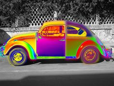 Colorful VW Bug=dare to be different? Neon Colors, Rainbow Colors, Rainbow Art, Rainbow Pride, Color Splash, Color Pop, Auto Volkswagen, Hippie Car, Bug Car