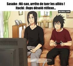 Itachi even beats Sasuke at video games. This response works in any Itachi/Sasuke scenario, btw. Naruto Meme, Anime Naruto, Naruto Amor, Manga Anime, Naruto Team 7, Naruto Funny, Naruto Boys, Itachi Uchiha, Naruto Y Boruto
