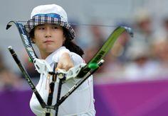 Ki Bo Bae knocked Khatuna Lorig out of the archery competition. (Jewel Samad -- AFP/Getty Images)  (500×349)