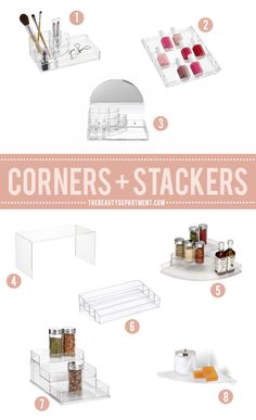 corner units and stacking units for beauty products