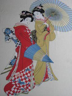 Vintage Asian Scarf Geisha Girls.. $12.50, via Etsy.