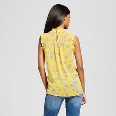 Women's Ruffle Trim Shell - Who What Wear Yellow Floral Xxl