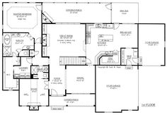 Craftsman French Country Traditional House Plan 50263 Level One (Use the study as a guest BR. Use the one car garage as a study! Much to like about this plan!)****************************************************************************