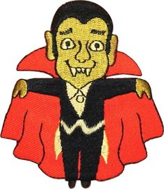 "Amazon.com: [Single Count] Custom and Unique (2 3/4"" x 3"" Inch) ""Halloween"" Festive Cartoon Smiling Open Cape Classic Vampire Design Iron On Embroidered Applique Patch {Gold, White, Red & Black Colored}"