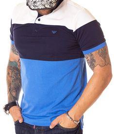 Armani Tricou Polo Tricolor Classic SS19 - Albastru | Tricouri polo | Polo | Brande Giorgio Armani, Polo Shirt, Classic, Casual, Mens Tops, Shirts, Fashion, Derby, Moda