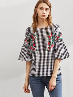 DIDK Symmetric Flower Embroidered Fluted Sleeve Checkered Top Black and White Plaid Three Quarter Length Sleeve Blouse Black Bell Sleeve Top, Look Girl, Embroidered Clothes, Short Tops, Indian Designer Wear, Blouses For Women, Women's Blouses, Blouse Designs, Feminine Fashion