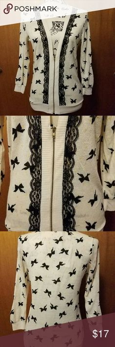 896f4dc609 Bow Cardigan Zip up cardigan adorned with black bows and gold dots!  Sweaters Cardigans Gold