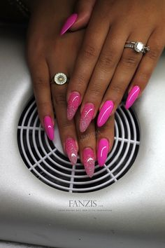 long neon pink gelnails in almond shape with pink glitter dust from the nailgallery at www.fanzis.com