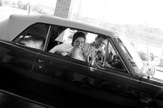 vintage car wedding exit. Midwest Engagement and Wedding Photographer. Traveling wedding photographer.