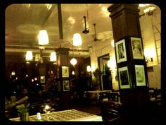 Dimly lit of Cafe Batavia in Old Town of Jakarta
