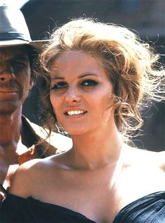 Claudia Cardinale on the set of Once Upon a Time in the West, 1968.