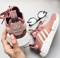 Womens Adidas NMD Raw Pink Shoes Leisure sports the best choice, simple but very trendy! Women's Shoes, Pink Shoes, Cute Shoes, Me Too Shoes, Baby Shoes, Sneaker Outfits, Nmd Outfits, Girl Outfits, Womens Nmd