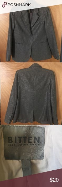 """Gray With Silver Metallic Thread Blazer by Bitten From Sarah Jessica Parker's line """"Bitten"""", stylish silvery blazer.  In great condition. Great with jeans and heels.  40% wool, 20% viscose, 30% polyester, 10% Metallic.  Dry clean only. Size L. Bitten Jackets & Coats Blazers"""
