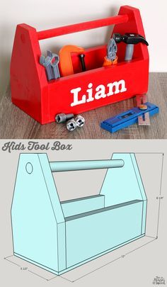 How to build a DIY Kids Tool Box - free building plans by Jen Woodhouse wood crafts crafts design crafts diy crafts furniture crafts ideas Woodworking For Kids, Woodworking Toys, Easy Woodworking Projects, Woodworking Furniture, Custom Woodworking, Woodworking Classes, Woodworking Basics, Youtube Woodworking, Woodworking Machinery