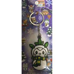 Pokemon Center 2014 Christmas Daruma Chespin Snowman Rubber Keychain
