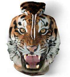 Pánská mikina s kapucí přes hlavu 3D s motivem tygra – VELIKOST L Na tento  produkt 92b28589a1