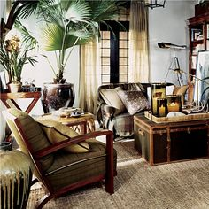"""Inspired by an exotic estate with echoes of safari, a warm earth-toned palette weaves together colonial, campaign and modern furnishings in mahogany, rattan and tent canvas with vachetta leather, madras and brass. West Indies Decor, West Indies Style, Ethno Design, British Colonial Decor, French Colonial, Colonial India, Ottoman Furniture, Home Collections, House Design"