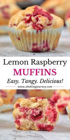 Lemon Raspberry Muffins, Raspberry Recipes, Lemon Muffins, Lemon Recipes, Sweet Recipes, Raspberry Dessert Recipes, Raspberry Food, Yogurt Muffins, Oat Muffins