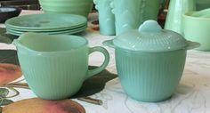 Fire King Jadeite Jane Ray Pattern Creamer & Sugar Bowl With Lid ~ Jadite…