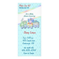 Adorable Baby Shower invitation features a toy train with a happy baby bluebird riding on it. Rainbow accents and lightly dotted aqua background. Matching pattern on card back. Text on front and back ready for you to customize with your information. Matching products available in my store. #baby #shower #invitation #shower #pregnancy #party #babyandme #maternity #bluebird #baby #bird #train #toy #train #bird #fun #art #birth #baby #newborn #cute #whimsical #trendy #infant #template #umbrella…