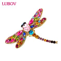 2016 New Fashion Jewelry Broochs 8Colors Vintage Lovely Dragonfly Crystal Rhinestone Scarf Pins Brooches For Women fast shipping #Affiliate