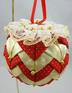 Red and Gold Quilted Ornament 630 by NoelBelles on Etsy, $8.25