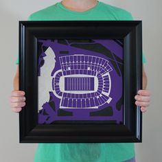 Amon Carter Stadium located at Texas Christian University in Fort Worth, Texas | College football prints from City Prints put you back in the stands on Saturdays. City Prints look like modern art and remind you of the unforgettable moments you experienced in your favorite seats