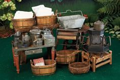 Miniature dollhouse laundry accessories to inspire (images only) Source: Theriault Antiques