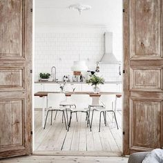 These doors We just love the stripped down finish mixed with the white simplicity Pinterest
