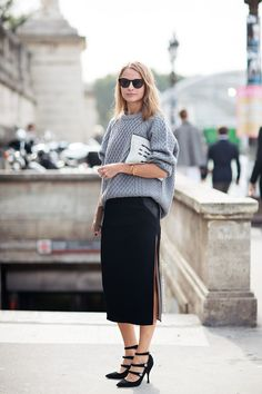 Street Style: knit sweater and long skit skirt with points