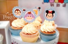 Disney Tsum Tsum baby shower party cupcakes! See more party planning ideas at CatchMyParty.com!