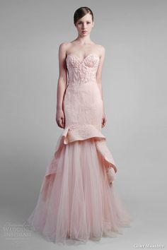 gemy maalouf strapless rose pink trumpet gown with tulle // Pinned by Dauphine Magazine x Castlefield - Curated by Castlefield Bridal & Branding Atelier and delivering the ultimate experience for the haute couture connoisseur! Visit www.dauphinemagazine.com, @dauphinemagazine on Instagram, and @dauphinemag on Pinterest • Visit Castlefield: www.castlefield.co and @ castlefieldco on Instagram / Luxury, fashion, weddings, bridal style, décor, travel, art, design, jewelry, photography, beauty