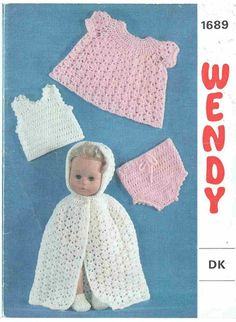 Wendy 1689 baby dolls clothes set vintage crochet pattern