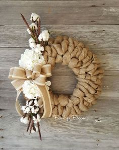 Looped Burlap and Cotton Blossoms