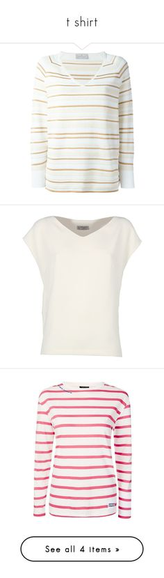 """""""t shirt"""" by israa-hosni ❤ liked on Polyvore featuring tops, sweaters, white, stripe top, v-neck tops, white v neck sweater, striped tops, white striped top, blouses and shirts"""