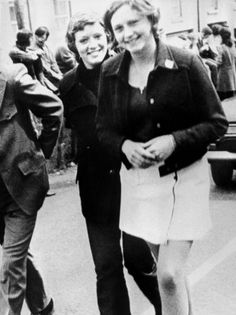4 June, 1972 Dolours Price (left) and her sister Marian attend a civil rights demonstration in Belfast, Northern Ireland.