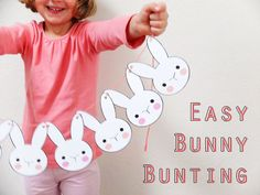 Make a cute Easter Bunny Bunting to decorate your home. A simple Easter Craft. Print, cut out and string together to make an Easter Garland. Cute Easter Bunny, Easter Art, Hoppy Easter, Easter Decor, Easter Garland, Bunny Party, Easter Printables, Free Printables, Easter Crafts For Kids