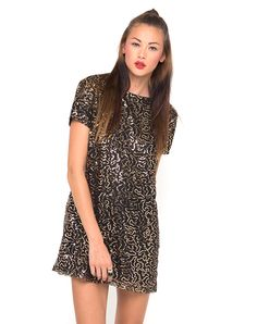 Motel Moonlight Shift Dress in Gold Sequin, TopShop, ASOS, House of Fraser, Nasty gal Nasty Gal, Moonlight, Asos, Topshop, Short Sleeve Dresses, Sequins, Shirt Dress, Sexy, Casual