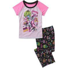 Marvel Girls' License Poly Pajama Sleepwear Set, Pink