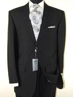 Presidential 2 Button Mens Suit Italian Modern Business Fit Jet Black