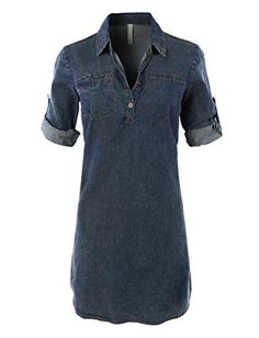 This classic chambray jean denim shirt dress with pockets is on trend-versatile. This dress is left straight and loose for a relaxed vibe but for a more flattering slimmer silhouette look, style it wi Long Denim Shirt Dress, Blue Denim Dress, Denim Shirt With Jeans, Blue Shirt Dress, Chambray Dress, T Shirt, Dress Long, Denim Shirts, Denim Fashion
