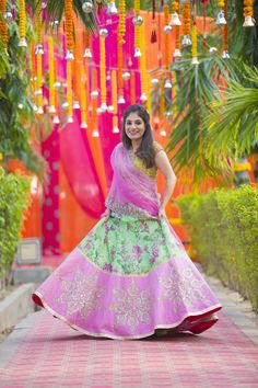 Light Lehengas - Mint Green and Pink Floral Lehenga | WedMeGood | Mint Green Floral Lehenga with a Broad Pink Border, Yellow Blouse and Pink Net Dupatta Picture Courtesy: @abhitjhanji #wedmegood #bridal #floral #indianbride #indianwedding
