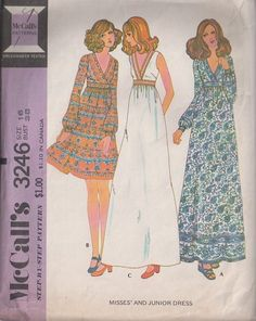 MOMSPatterns Vintage Sewing Patterns - McCall's 3246 Vintage 70's Sewing Pattern DREAMY Boho Empire Waist, Surplice V Neck Flared Skirt Border Print Day Dress, Party Maxi Gown