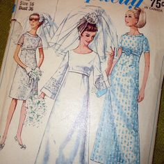 1960's vintage wedding dress pattern