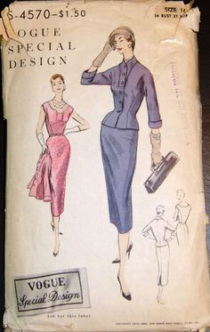 Vintage Original Vogue Special Design 50's Dress/Jacket Pattern No. S-4570